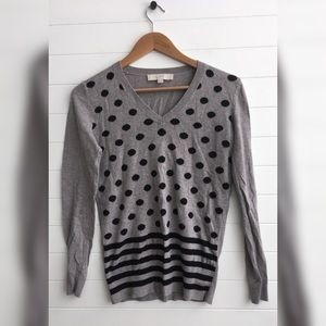 [LOFT] Polka Dot Striped V-Neck Casual Sweater Top